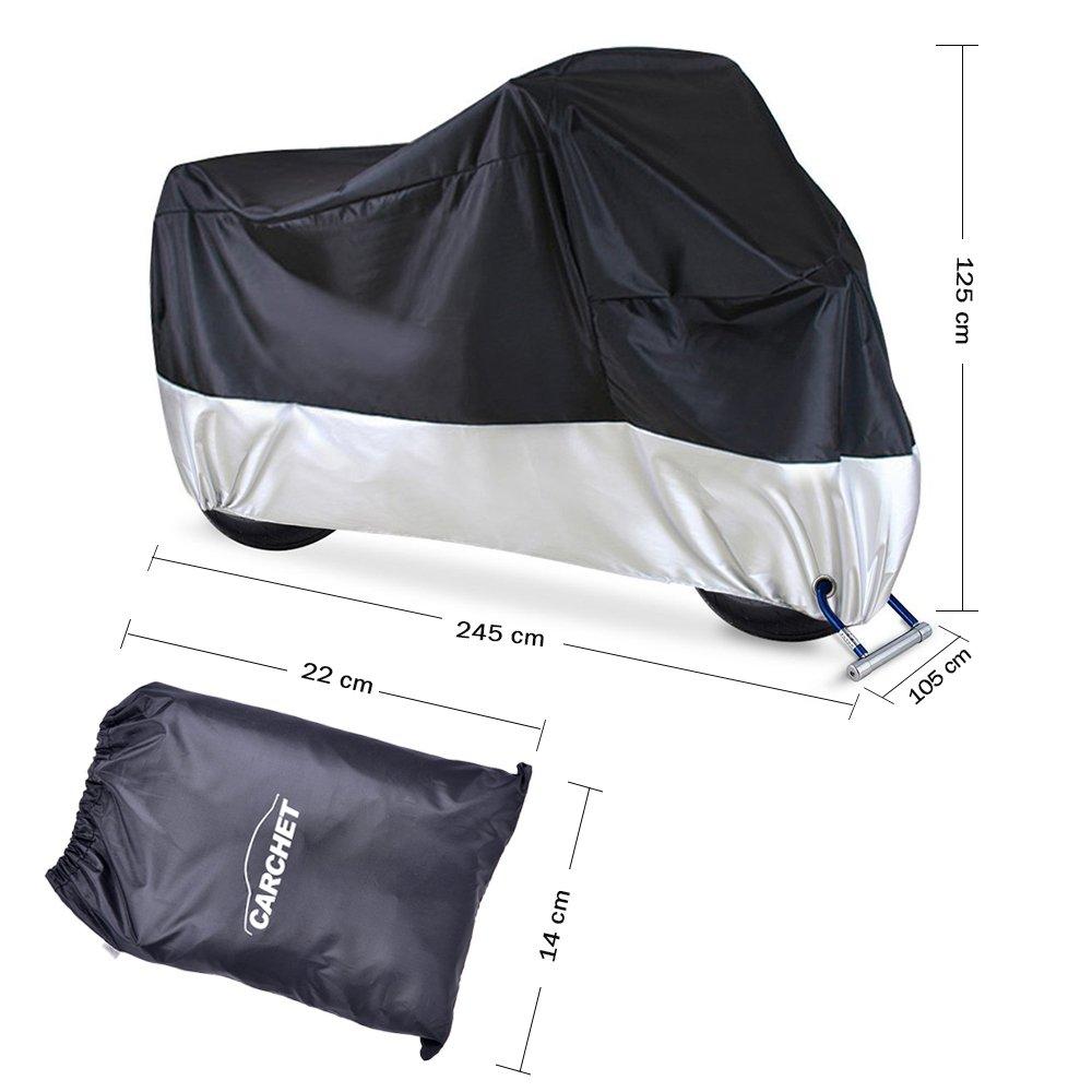 opamoo Moto Cubierta con 3 Franjas Reflectantes Agujeros de Bloqueo Cubierta de la Moto Impermeable Prueba de UV Polvo Viento Nieve Moto Cubierta Protectora 245X105X125cm Funda para Moto