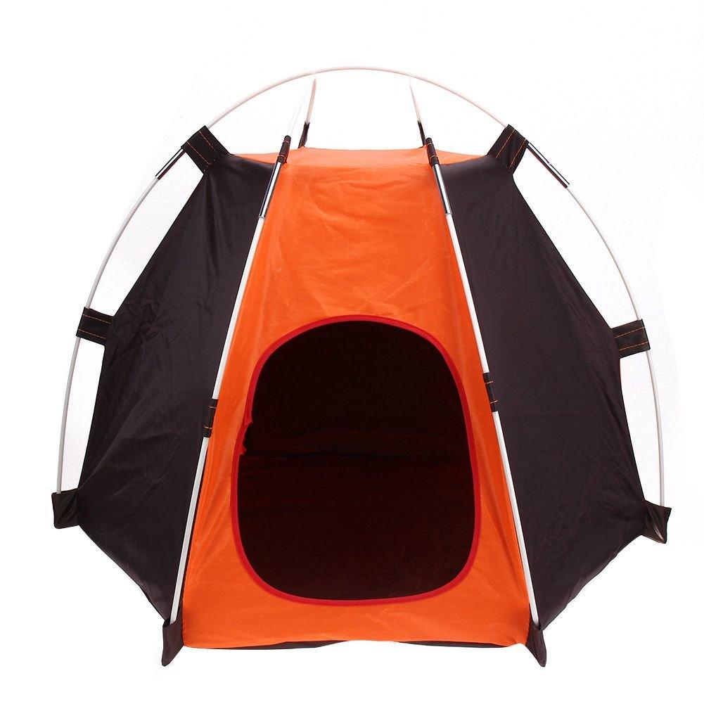SODIAL Portable Pliant Camping Tente pour animaux de compagnie Chien Maison Cage Tente pour Chien Chat Operation facile hexagone Cloture Abri Impermeable Lavable