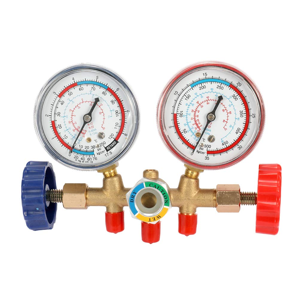 Vislone R134A Refrigeration Gauge A//C Refrigerant Air Conditioning Manifold Gauge Tools Set with Hose and Hook for R12 R22 R404A R134A