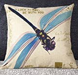 #9: 18 X 18 Inch Cotton Linen Retro Vintage Home Decorative Indoor/Outdoor Throw Cushion Cover / Pillow Sham Dragonfly