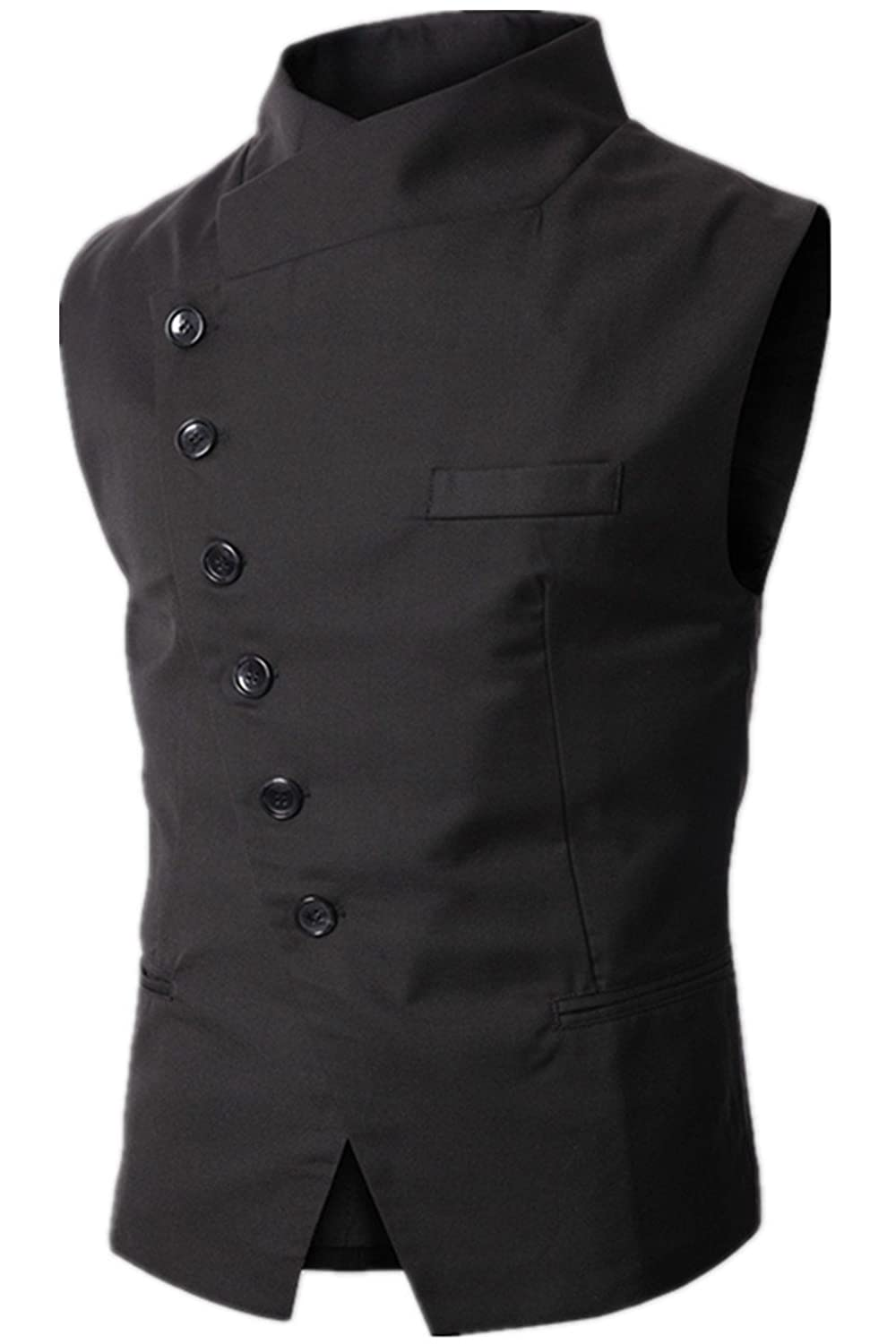 Lanbaosi Men's Casual Slim Fit Oblique 6 Button Down Stand Collar Vest