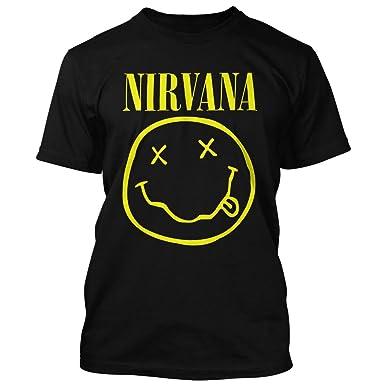 3bac50c9 Nirvana Mens Band Smiley Face Logo T Shirt: Amazon.co.uk: Clothing