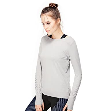 Amazon.com: Marca Yoga Tops Gimnasio T Shirt Manga Larga ...