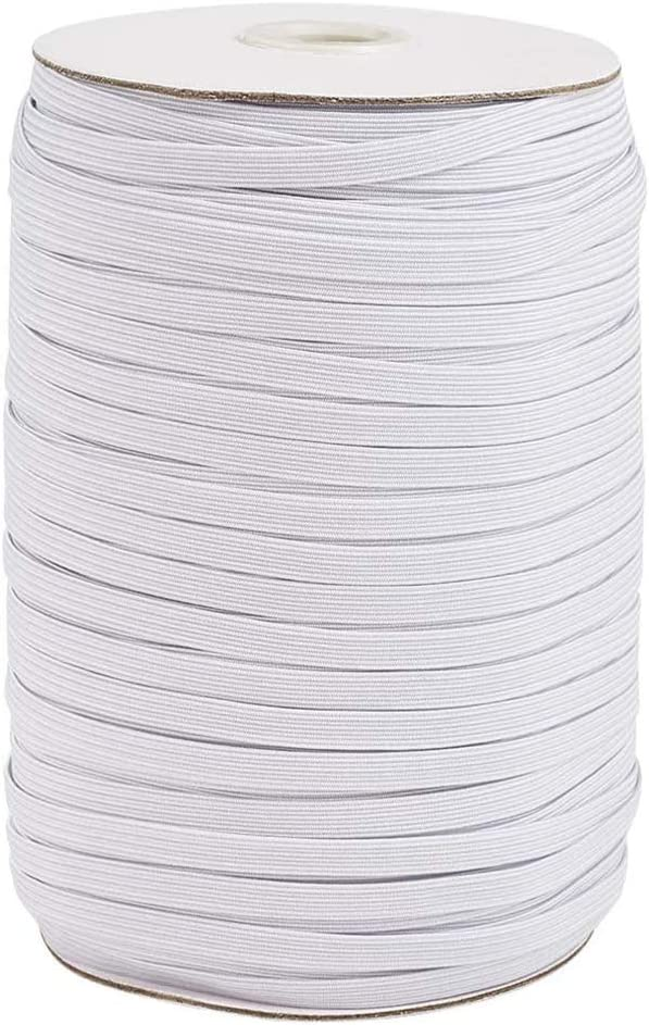 White Color White Braided Elastic 1//4 inch Width 109 Yards Roll Elastic Cord Bands for Sewing