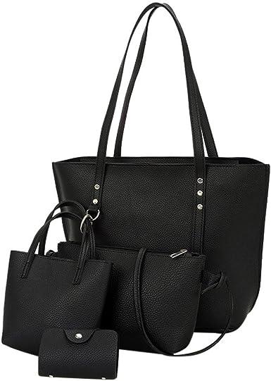 Womens Litchi Pattern PU Leather Shoulder Top-handle Bags Retro Satchel Handbags
