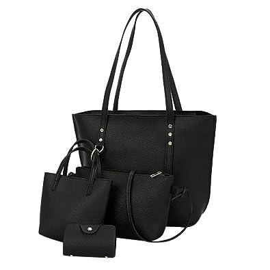 64cc9595277 Sale Clearance Women Bag Halijack 4Pcs Womens Pattern Leather Shoulder Bag  +Crossbody Bag+ Handbag + Wallet Casual Classic Vintage Satchels Beach  Party Tote ...