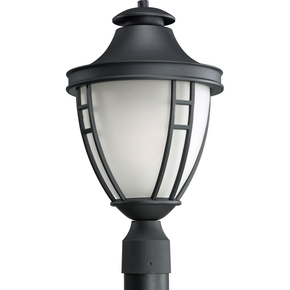 Progress Lighting P5402-31 1-Light Post Lantern with Etched Glass In Black Finish, Textured Black by Progress Lighting
