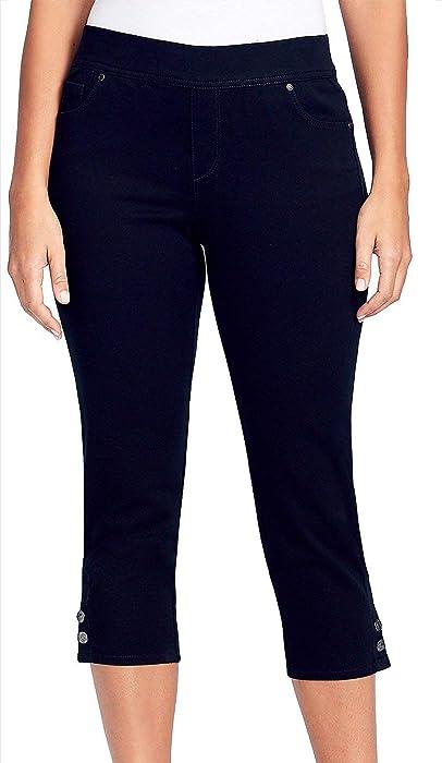 7ef233f9c3a Gloria Vanderbilt Light Wash Cropped Design Side Slit Cuff Pants Black  Rinse 6