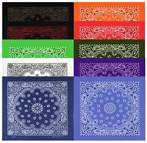 Large Bandanas 27 x 27 | Versatile Biker Rags | Classic Paisley Bandana Pattern,B.White/B.Copper/B.Red/Red/White/Navy/B.Jean/Purple/Orange/Olive,10 Pack