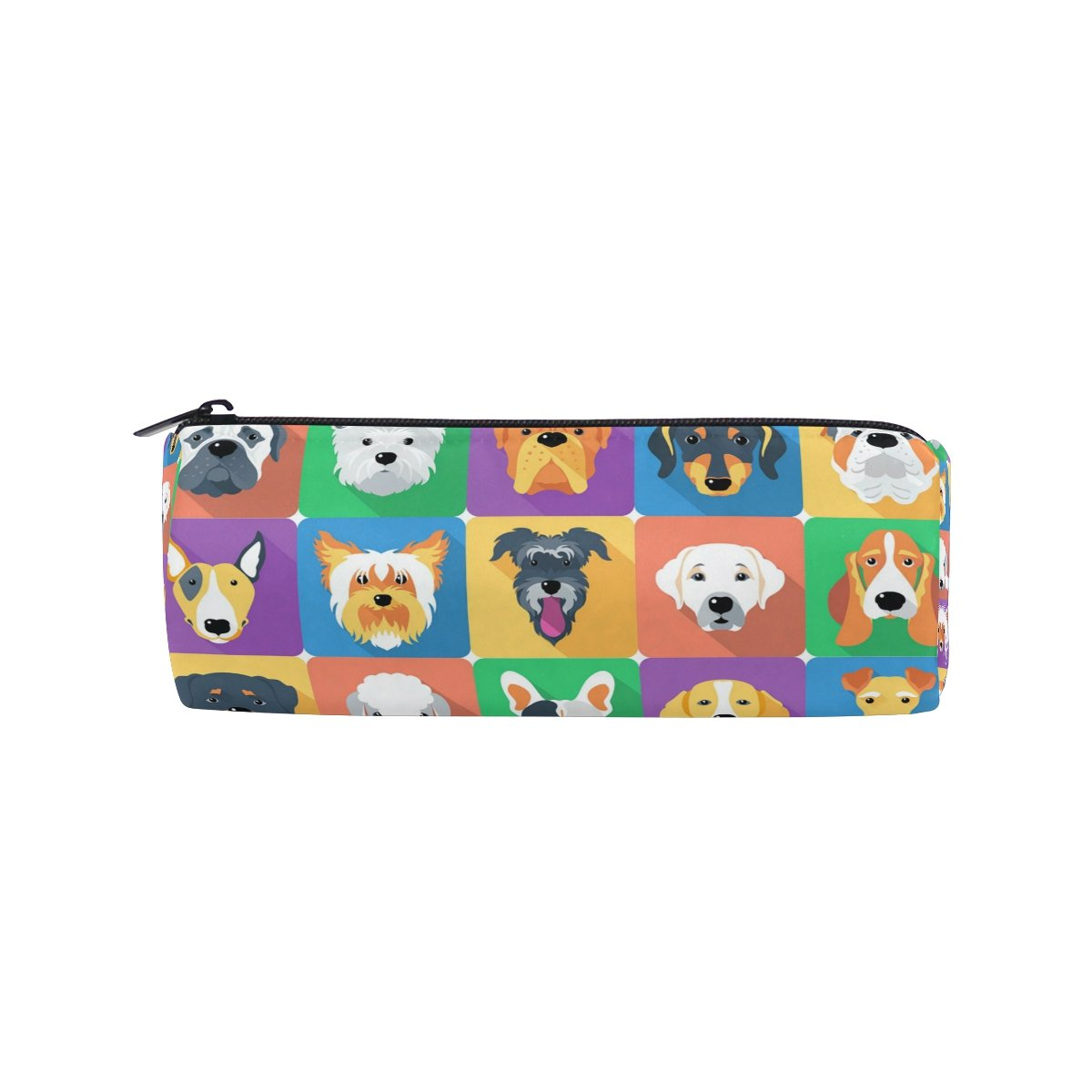 ALAZA Dogs Icon Animal Flat Design Pencil Pen Case Pouch Bag with Zipper for Girls Kids School Student Stationery Office Supplies