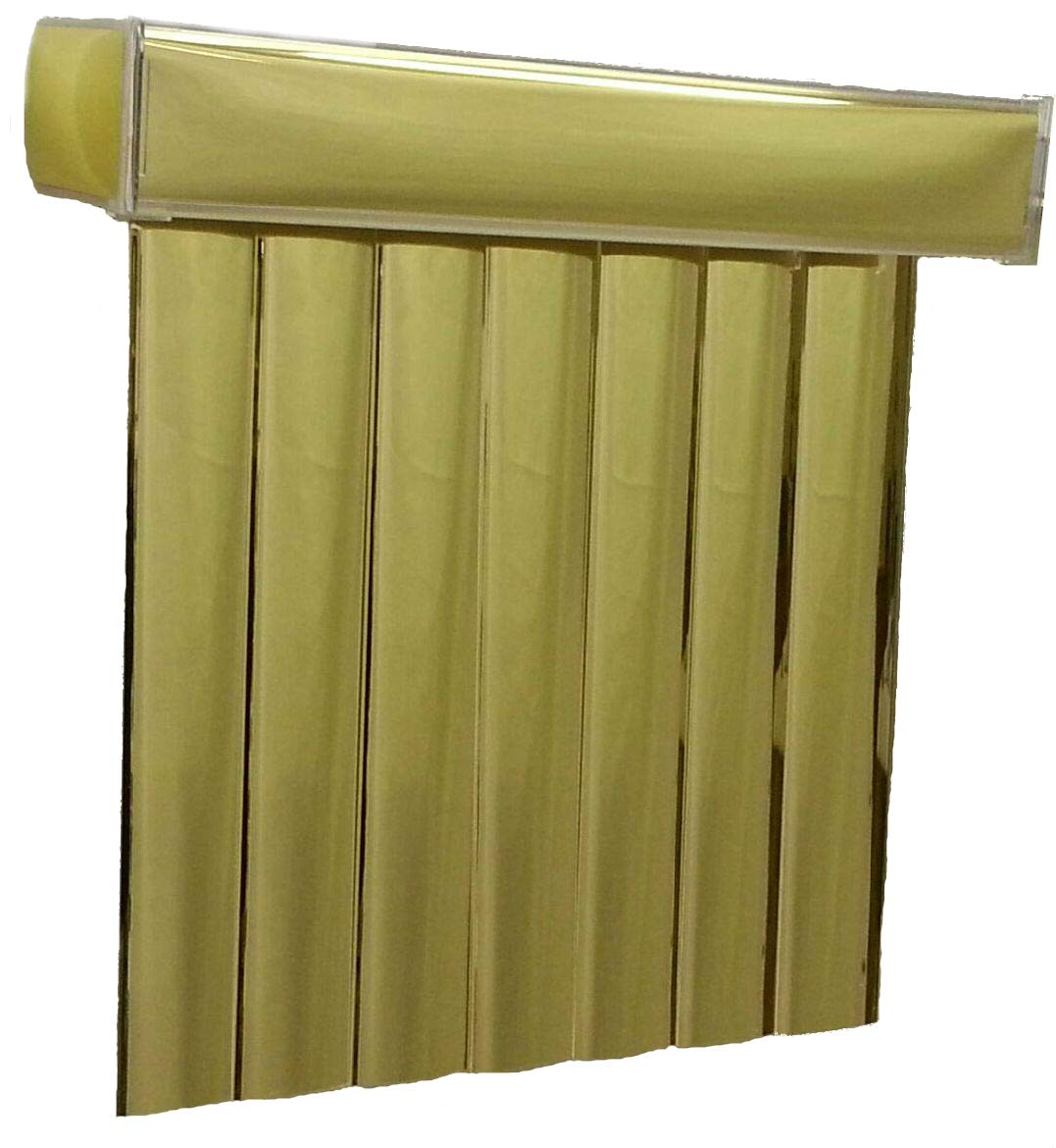 Gold Mirror Vinyl Vertical Blinds with 3-1/2'' Reflective Vanes, 48'' Wide x 84'' Long, Cordless by BlindDen