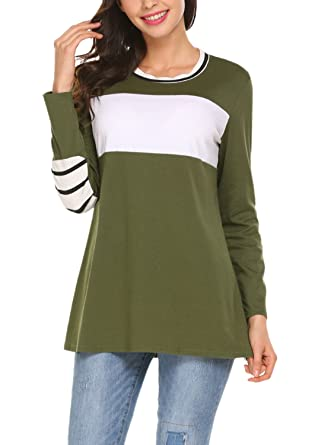 3046d368cdc BLUETIME Women's Casual Color Block Tops Long Sleeve Striped Elbow Patch  Shirt Blouse