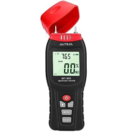 AUTSCA Medidor de humedad de madera con pantalla LCD retroiluminada, medidor digital de humedad y temperatura ...