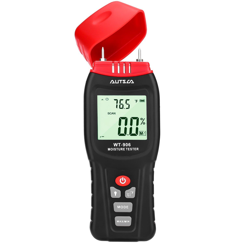 AUTSCA Wood Moisture Meter with LCD Backlit Display, Potable Digital Moisture & Temperature Meterfor Wood, Concert, Drywall, Bamboo, Cardboard etc. Detector for Wet Building Materials, Seasoned Firew