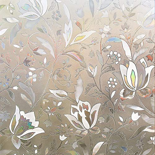 RABBITGOO 3D Window Films Privacy Film Static Decorative Film Non-Adhesive Heat Control Anti UV 17.5'' x 78.7'' (44.5 x 200Cm) by RABBITGOO