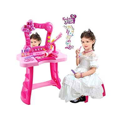Kalmstore Girls Pretend Play Dressing Table Top Set Fantasy Vanity Beauty Dresser Table with Sounds, Hi-fi Microphone & Makeup Accessories (Hot Pink A): Clothing [5Bkhe0501527]