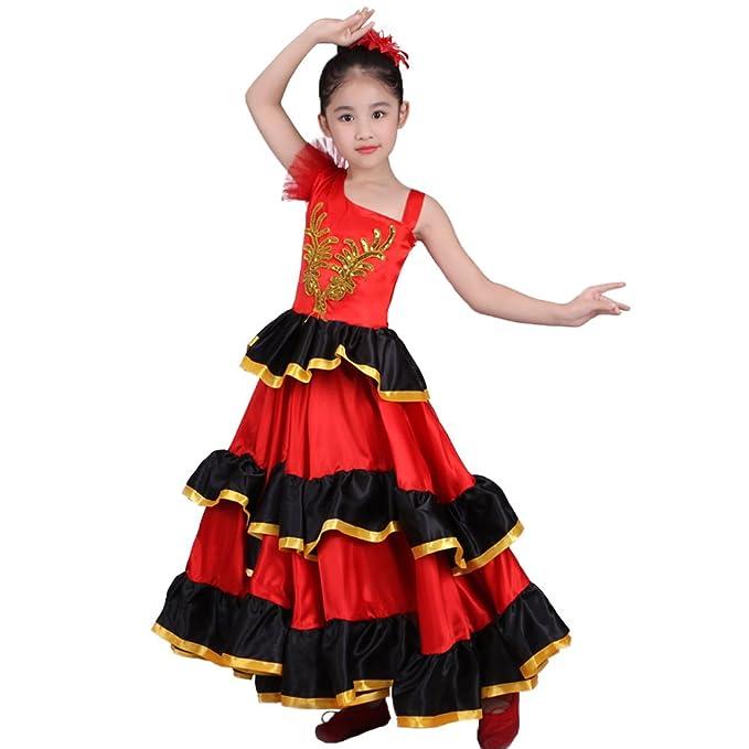 94d71c0a1f87 DREAMOWL Red Spanish Flamenco Dance Ballet Dress Costume for 4-12 Years  Girl Attach Headflower