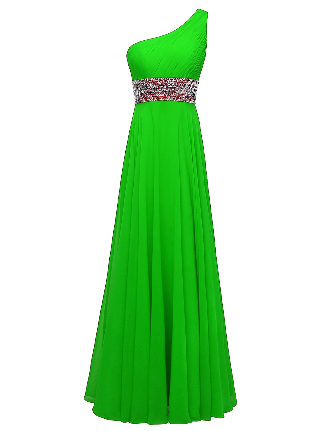 Himoda Womens Long Scoop Beaded Prom Gowns Chiffon Bridesmaid Dresses H019