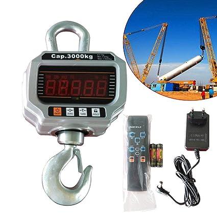 3000 kg/1 kg Báscula electrónica para Grúa grúa Balanza colgante gancho Crane Escala –