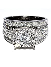 1.75cttw Diamond Wedding Ring 3 in 1 Round Diamond Top Big Ring 14k White Gold