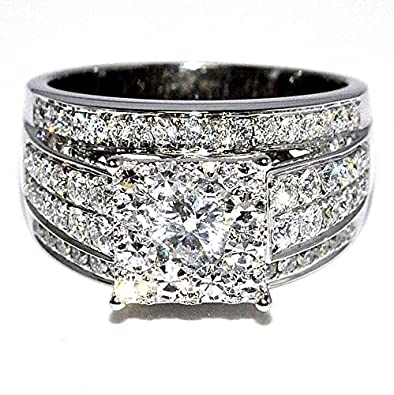 Amazon 1 75cttw Diamond Wedding Ring 3 in 1 Round Diamond Top