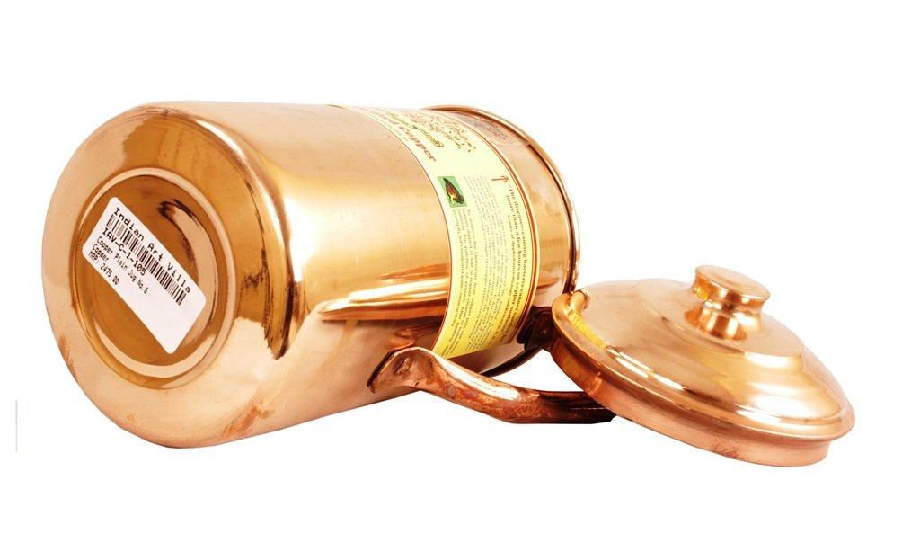 IndianArtVilla Handmade Pure Copper Pitcher/Jug   34 Oz Healthy Habits   Storage Drinking Water…