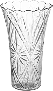 "Royal Imports Flower Acrylic Vase Decorative Centerpiece for Home or Wedding Non-Breakable Plastic - 9"" Tall, 4"" Opening - Clear"