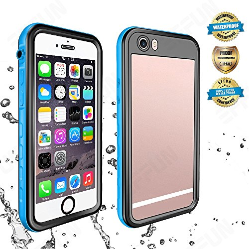 Effun iPhone 6S Plus/6 Plus Waterproof Case, IP68 Certified Waterproof Underwater Cover Dirtproof Snow/Shock Proof Case with Cell Phone Holder, PH Test Paper, Stylus Pen, Floating Strap Light Blue
