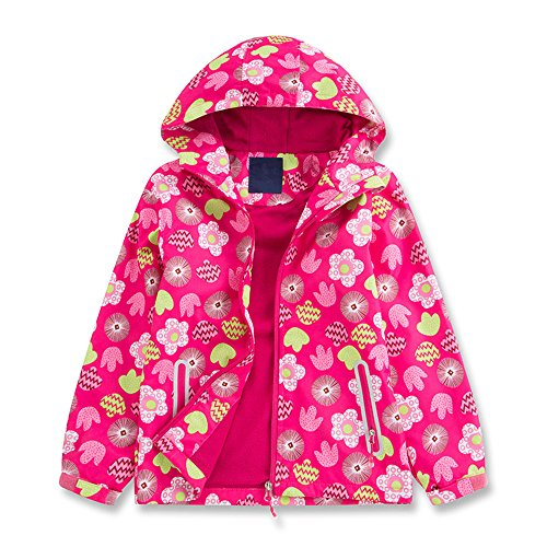 (Star Flower Little Girls Rain Jacket Coats with Hood (10,)