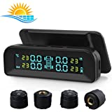 Spurtar TPMS Tyre Pressure Monitoring System, Solar Power Wireless TPMS Car Tire Pressure Monitoring System with Temperature and Pressure LCD Display Auto Alarm Real-Time Monitoring