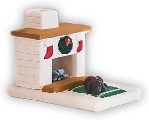 Incienso de Santa Fe - Holiday White Country Hearth with Black Lab Puppy Natural Wood Incense Burner, Includes 20 Piñon Incense Bricks