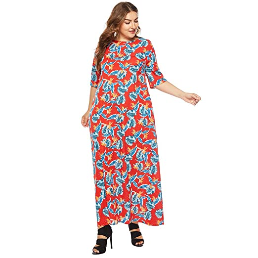 Ocean Store Dress For Women Plus Size Dresses Half Floral Printed