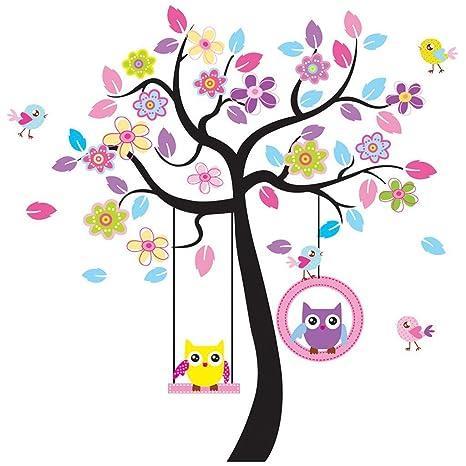 Rainbow Unicorn Arte encantador colorido árbol calcomanías con colgantes búho pegatinas de pared, decoración de