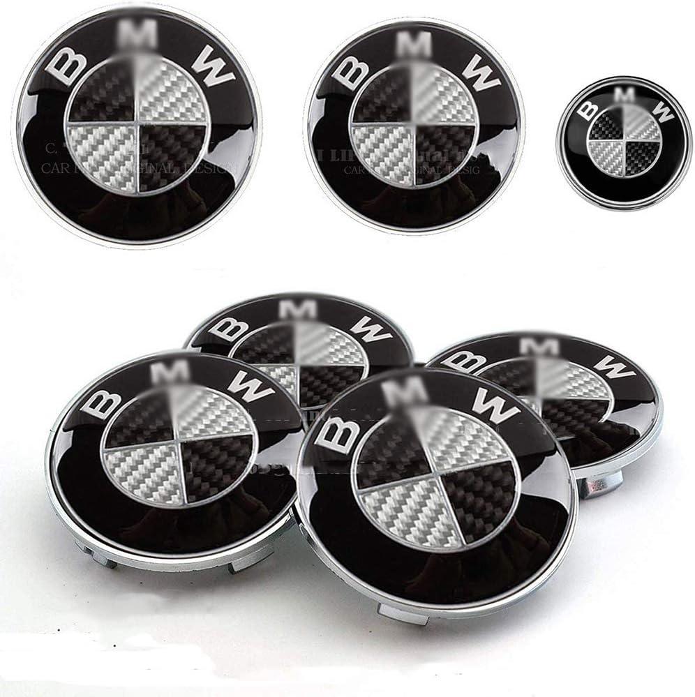 LODYPERO 7Pcs Black And White Emblem Steering Wheel Emblem Decal Wheel Center Caps Hub Capsx4 Emblem Logo Replacement for BMW Hood//Trunk