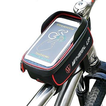 Wheelup - Bolsa para bicicleta con marco resistente al agua, accesorios para bicicleta para el teléfono móvil, tan pequeño como 6 pulgadas, rojo: Amazon.es: ...