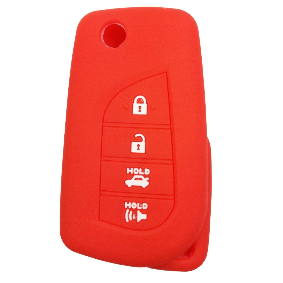 Coolbestda Rubber 4 Buttons Flip Folding Key Fob Remote Cover Case Keyless Jacket Protector for Toyota Camry 4-Runner RAV4 Highlander Yaris HYQ12BFB