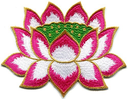 Lotus flower Buddhism Guanyin pink with gold trim embroidered applique iron-on patch - Pink Gold Flowers Trim