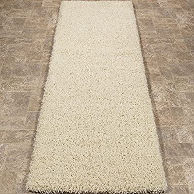 "Sweet Home Stores Cozy Shag Collection Cream Solid Shag Rug (2'7""X7'6"") Contemporary Living and Bedroom Soft Shaggy Runner Rug - Size: 2'7""X7'6"" Color: Cream 100% Heat-set polypropylene machine woven for long-lasting quality - runner-rugs, entryway-furniture-decor, entryway-laundry-room - 61NzwqAHr4L. SS400  -"