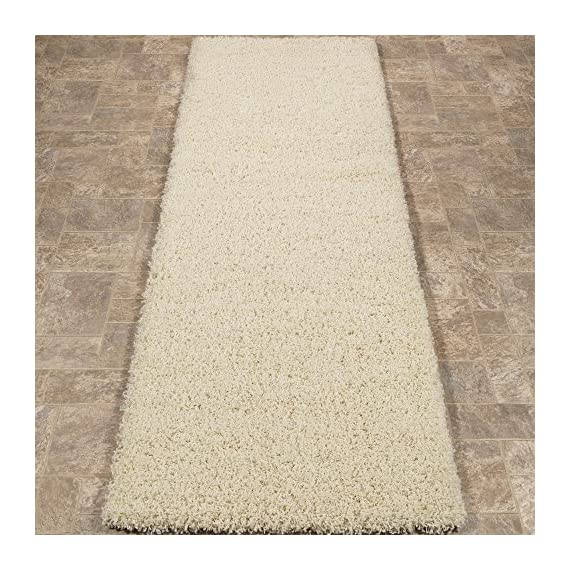 """Sweet Home Stores Cozy Shag Collection Cream Solid Shag Rug (2'7""""X7'6"""") Contemporary Living and Bedroom Soft Shaggy Runner Rug - Size: 2'7""""X7'6"""" Color: Cream 100% Heat-set polypropylene machine woven for long-lasting quality - runner-rugs, entryway-furniture-decor, entryway-laundry-room - 61NzwqAHr4L. SS570  -"""