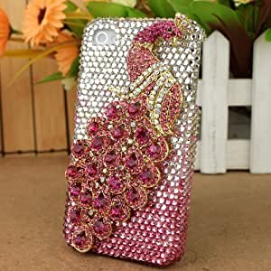 3D Bling Crystal iPhone Case for AT&T Verizon Sprint For Apple Iphone 5/5S Case Cover Pink Peacock
