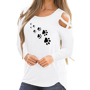 31895304c26ed Fheaven (TM) Women Fall Blouses Long Sleeve Print Strappy Cross Cold  Shoulder T-