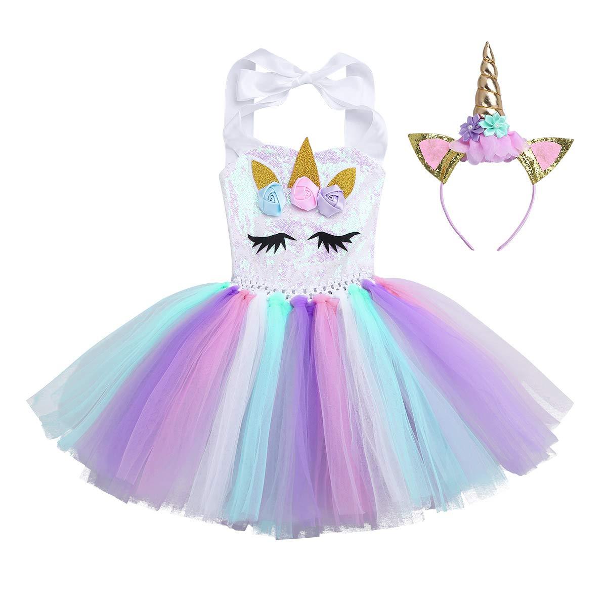 Alvivi Disfraz de Unicornio Niñas Cosplay Costume Infántil para ...