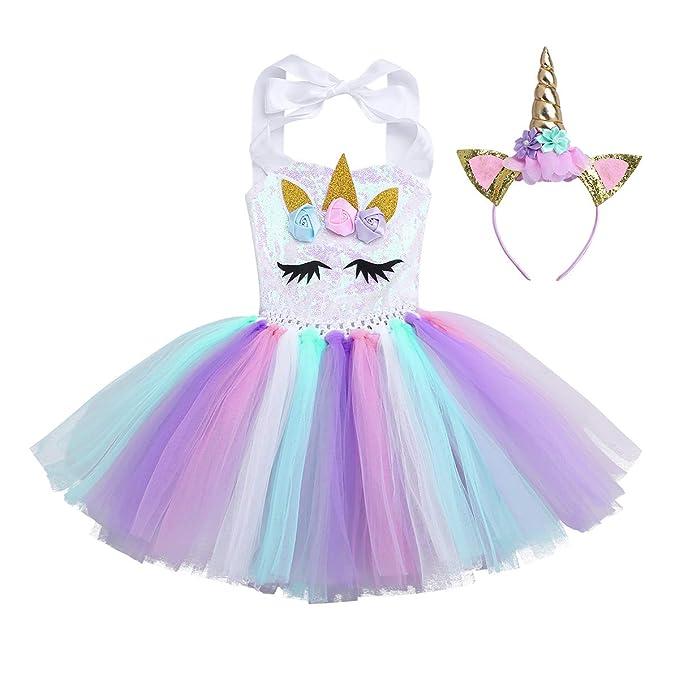 TiaoBug Vestido de Unicornio Niñas para Fiesta Cosplay Disfraz Tutú Falda Lentejuelas Princesa Cuello Cogido con Diadema Conjunto