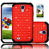 Galaxy S4 Case, Heng Tech Sparkle Shimmer Shockproof Case, Heavy Duty Hybrid Dual Layer Diamond Rhinestone Bling Case for Samsung Galaxy S4 (Red)