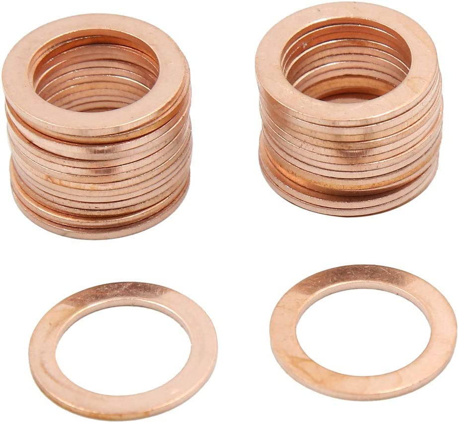 X AUTOHAUX 14mm Inner Dia Copper Crush Flat Washers Car Engine Sealing Gaskets Plate Rings 20pcs