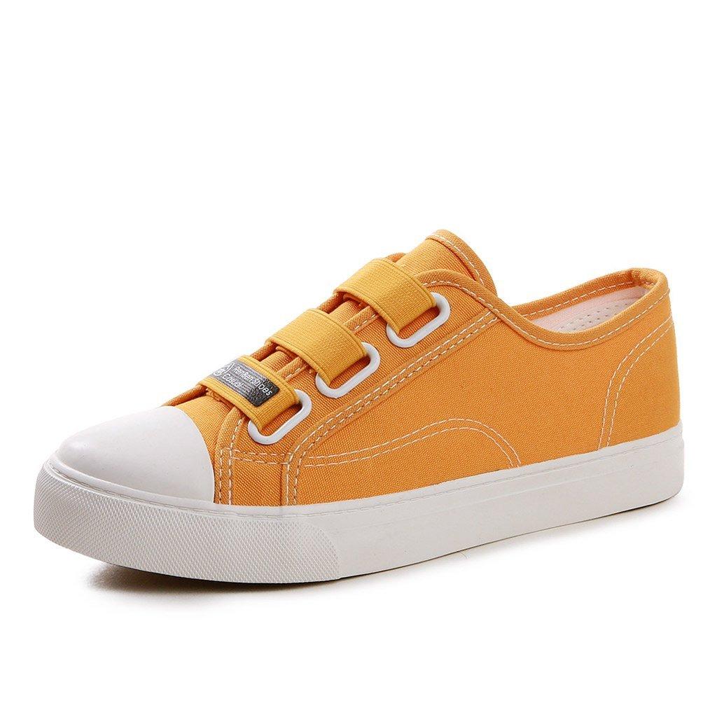 SHI Zapatos de Lona de Las Mujeres - Zapatos Planos de la Correa elástica Transpirable Zapatos de Skate de los Deportes Ocasionales (Color : Amarillo, Tamaño : 35) 35 Amarillo