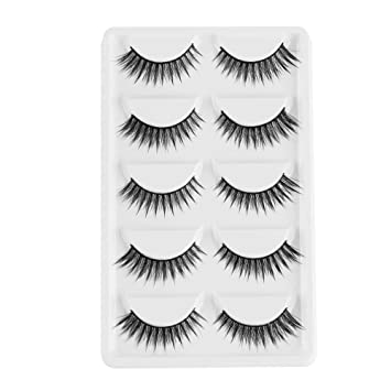 044b9625f8f 5 Pairs Woman's Fashion Natural Long Resuable Full Volume Lashes Wispy False  Eyelashes 3D Faux Mink