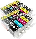 10 Druckerpatronen kompatibel zu CLI-551 PGI-551 mit Chip: je 2x PGI-550PGBK XL, CLI-551BK XL, CLI-551C XL, CLI-551M XL, CLI-551Y XL für Canon Pixma IP7250, MG5450, MG6350, MG5550, MG6450, MG5650, MG 5655, MG7550