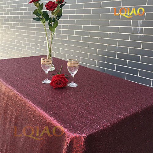 LQIAO Christmas Burgundy Tablecloth Sequin Shimmer Sequin Fabric,120x200cm,More Size Options]()