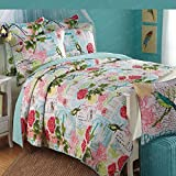 Home 3-Piece Retro Red Rose Printed Cotton Patchwork Bedspread Quilt Set Queen
